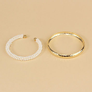 Pearl & Metal Bangle Set