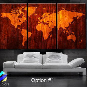 "LARGE 30""x 60"" 3 Panels Art Canvas Print beautiful World Map Wood texture Wall home office decor interior  (Included framed 1.5"" depth)"