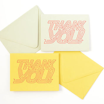 Thank You Maze Card | Hand Designed / Gocco Printed | Sage Green or Curry Yellow