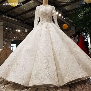 LS11078 2018 Luxury wedding dress full sleeve o-neck ball gown lace up Handwork elegant  bridal wedding gowns real  as photos