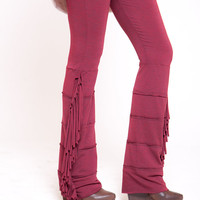 Maroon leggings, funky tights, womens pants, fringe leggings, christmas,  Sizes : XS / S / M / L / XL