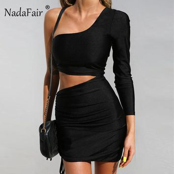Nadafair Sexy Party Club Backless Bodycon Dress Women Hollow Out One Shoulder Bandage Dresses Long Sleeve Mini Vestidos