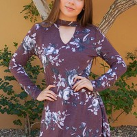 The Very Thought Of You Burgundy Floral Print Cutout Swing Dress
