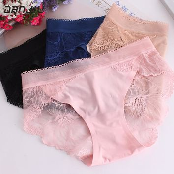 DANJIU Hot Sexy Summer Style Fashion Women's Panties Hollow Seamless Underwear Delicate Lace Breathable Female Elegant Briefs