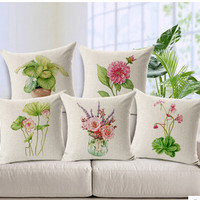 American Style Countryside Poetry Garden Flowers Decorative Throw Pillow Cover Case 45cm Cotton Linen for Sofa Hotel Office Home