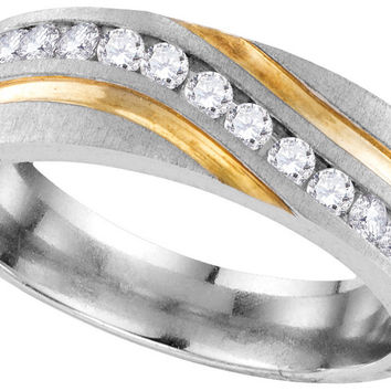 10k White Gold Mens Round Diamond 2-tone Wedding Anniversary Band Ring 1/4 Cttw 109716