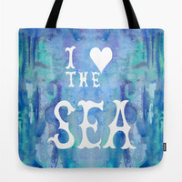"Cute Tote Bag, ""I Love the Sea"" watercolor ocean, surfer, beach, blue, typography, surf coastal allover print accessories"