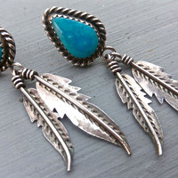 Native American Turquoise Sterling Silver Feather Earrings