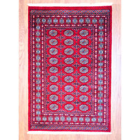 Pakistani Hand-knotted Red/ Black Bokhara Rug (4' x 6') | Overstock.com