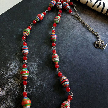 Handmade Christmas necklace, Cherry red glass beads, Lightweight necklace
