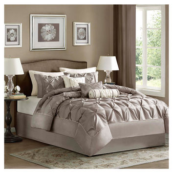 Madison Park Laurel 7 Piece Comforter Set in Taupe