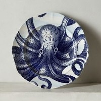 From The Deep Side Plate, Octopus by Anthropologie in Blue Motif Size: Side Plate Dinnerware