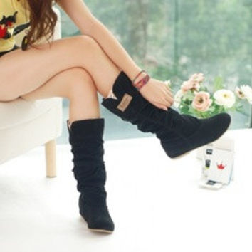 Fashion Womens Autumn/Winter Inner Wedges Flat Heel Mid-Calf Suede Leather Boots [7688935558]