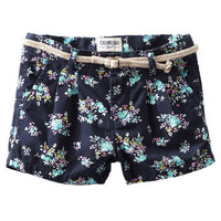 Floral Print Twill Shorts
