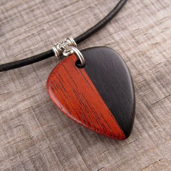 Guitarist Necklace, Musician Gift, Red and Black Wood Guitar Pick On Custom Leather Necklace, Guitar Player Gift, Heavy Metal Jewelry