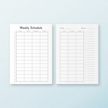 WEEKLY SCHEDULE A5 Inserts Hourly Routine Planner Filofax Kikki K Large Refills Household Printable Schedule Weekly To do. Instant Download