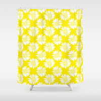 Yellow Flowers Shower Curtain by Ornaart