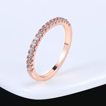 Wedding Ring For Women Man Concise Classical Multicolor Mini Cubic Zirconia Rose Gold Color Wedding Jewelry