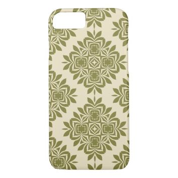 Green Mint Damask Pattern iPhone 7 Case