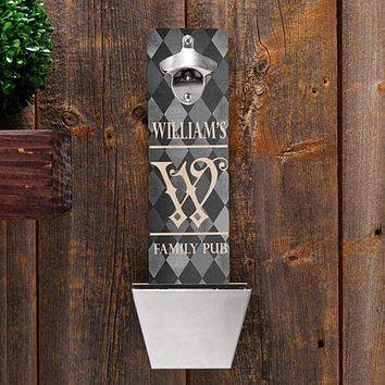 Personalized Wall Mounted Bottle Opener and Cap Catcher - Argyle