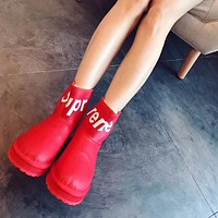 Supreme x LV Women Casual Flats Shoes Boots