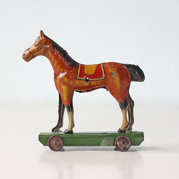 Vintage Tin Horse on Wheels, Made in Germany