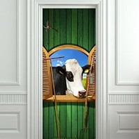 "Wall Door STICKER cow farm village poster, mural, decole, film 30x79"" (77x200 Cm)"