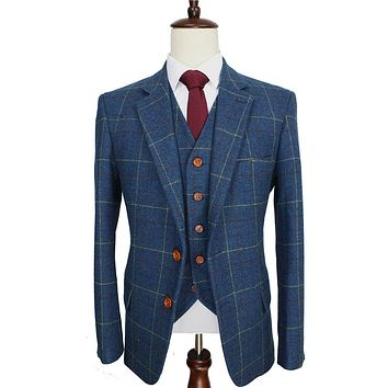 Wool Blue Check Tweed Custom Made Men suit Blazers Retro tailor made slim fit wedding suits for men 3 Piece