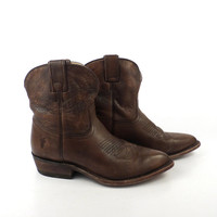 Frye Cowboy Boots Vintage 1990s Short Ankle Booties Western Leather Brown Women's size 8 B