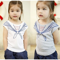 Bat sleeve children girls T-shirt clothes  Korean version of the  summer cotton short-sleeved tops Fake two clonthing