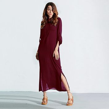 Sexy Vestidos 2017 Autumn Casual Dress Women Ladies Long Sleeve Deep V Neck Linen Split Solid Long Maxi Dress Plus Size S-XL