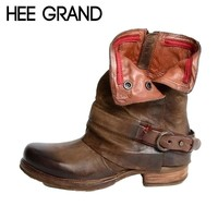 HEE GRAND 2018 Women Ankle Boots Autumn Western Motorcycle Boots Ankle Bootie Causal Footwear Shoes Booten XWX6899