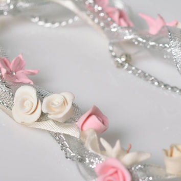 Handmade clay charm necklace Flowers Costume jewelry Designer accessory Gift