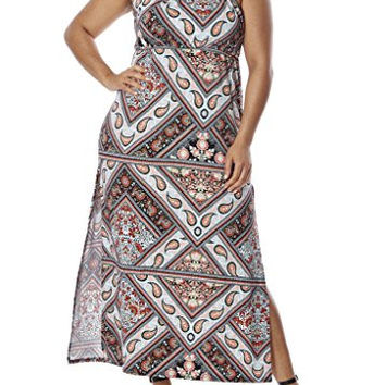 Paisley Print Halter Dress for Women - Junior Plus Size, Spandex