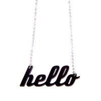 hello acrylic necklace by plastique on Etsy