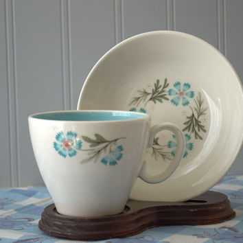 Mid Century Blue and White Floral Teacups and Bowl  - Taylor and Smith Forever Yours Boutonniere Pattern