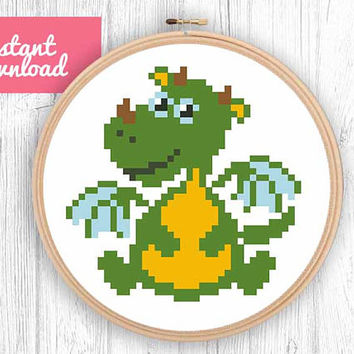 Modern baby dragon cross stich pattern, baby decorative in the hoop art cross stitch design, easy contemporary hand embroidery
