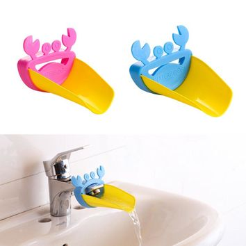 Cute Crab Children Bathroom Water Extender Sink Faucet Chute Extender Kids Kitchen Washing Hands Baby Care Bath Brushes