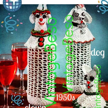 PdF Pattern • 3 LIQUOR Bottle Cover CROCHET Pattern • 1950s Vintage Hostess Party Gift • Mad Men Era • Clown Dog Cat free gift Cigs Case