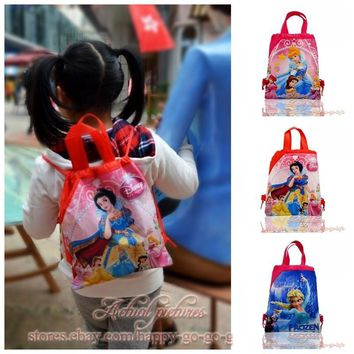 1PCS Princess Children Cartoon Drawstring Backpack School Shopping Bags 34*27CM Non Woven Fabrics Kids Birthday Party Best Gift