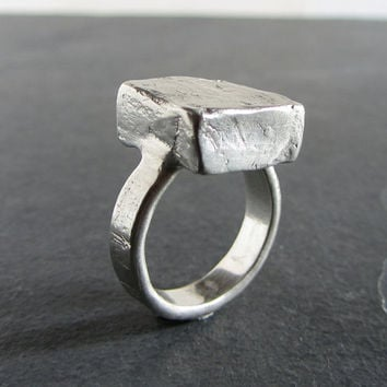 "Rustic sterling silver ""mini monolith"" ring // statement ring / chunky ring / unique ring / rough ring / rustic jewelry / unique jewelry"