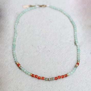 Aventurine and Carnelian Delicate Necklace