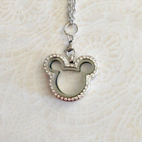 Living locket stainless steel Mickey .... Mickey Mouse Inspired locket with crystals
