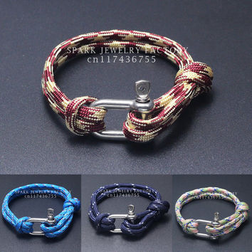 New Arrival Fashion Jewelry Beach Sport Camping Paracord Survival  Bracelet Men with Stainless Steel Shackle Buckle