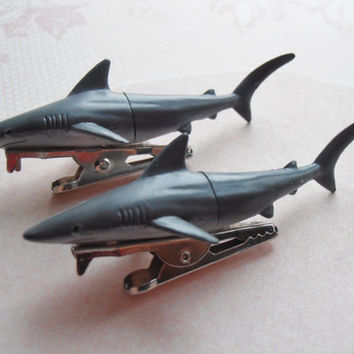 Set of two shark hair clips, gift idea for her, fashion accessories for hair, ooak gift for teen
