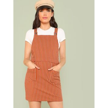 Pocket Patched Vertical Striped Overall Dress