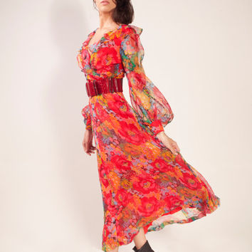 1980's chiffon floral maxi vintage dress,Chiffon dress,Long dress,Maxi dress,V neck dress,Art deco dress,Floral dress,Red green dress