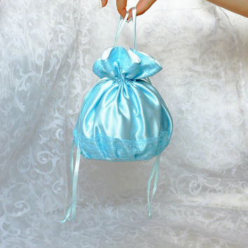 Pompadour purse evening handbag wristlet drawstring reticule blue satin