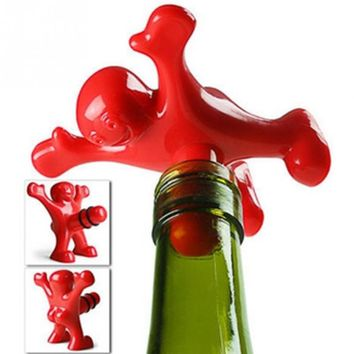 1Pc Unique Funny Happy red Man Guy Wine bottle Stopper plastic Novelty Bar/home Tools Plug Perky Creative Gifts FA6
