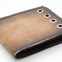 The Skynard - Mens Leather Wallet (tan) - Vintage Rustic Tobacco Burst Retro Bifold